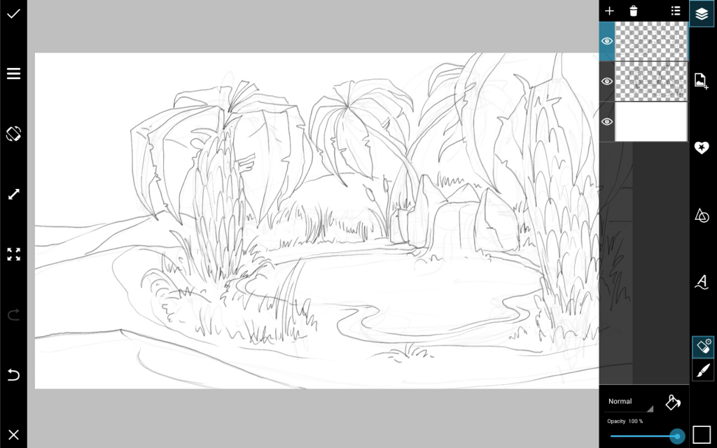 desert oasis drawing - photo #17