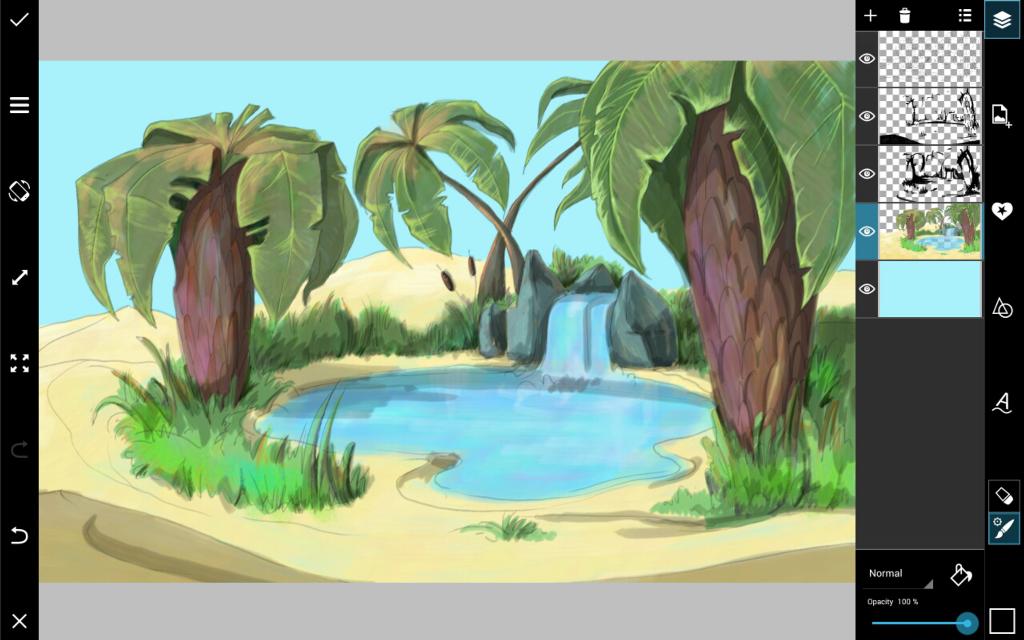 desert oasis drawing - photo #8
