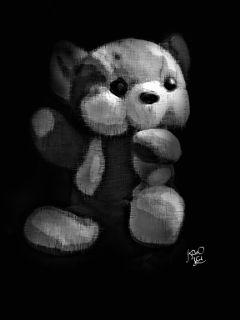 dcteddybear black white bear toy