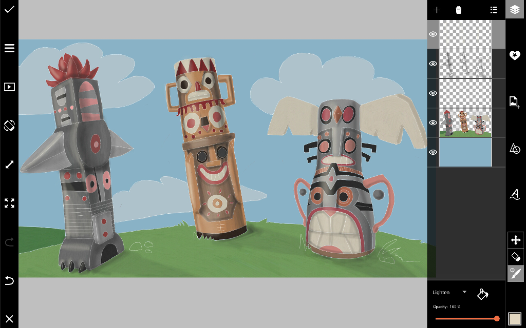 how to draw a totem pole